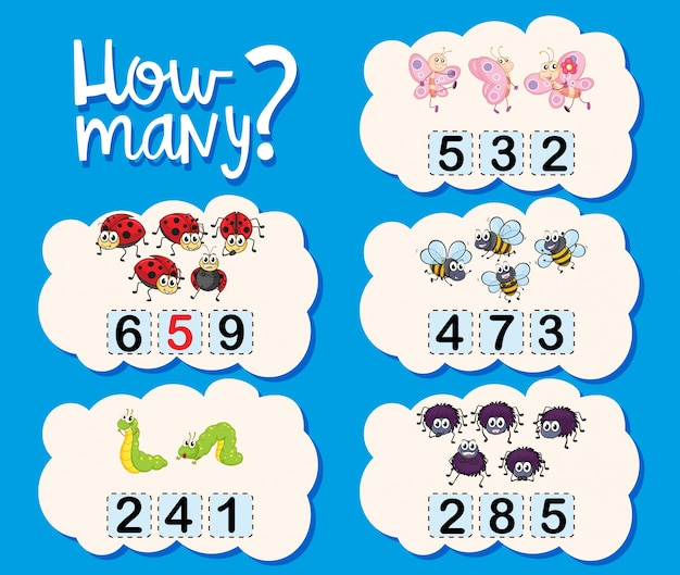 Counting worksheet with numbers and pictures