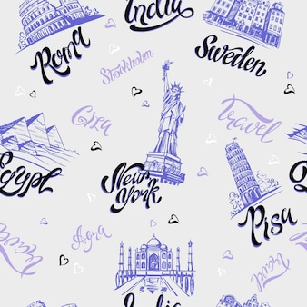 Countries and cities lettering