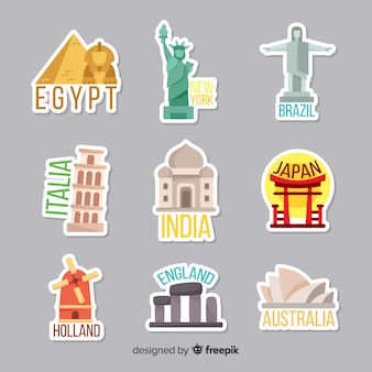 Countries sticker set