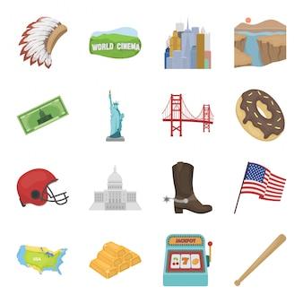 Страна америка мультфильм установить значок. иллюстрация сша. изолированный мультфильм набор значок страна америка.