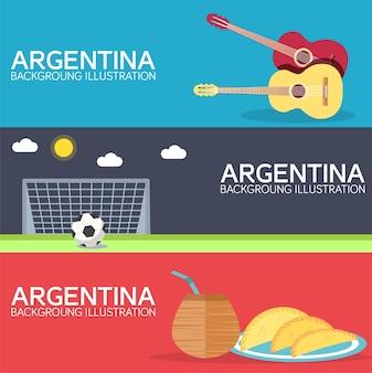 Страна аргентина, отдых, отдых путеводитель по товарам, местам. набор архитектуры, предметов или природы.
