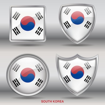 Country bevel flag  4 shapes icon