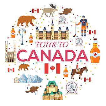 국가 캐나다 여행 상품의 휴가 가이드. 건축, 패션, 사람, 항목, 자연의 집합입니다.