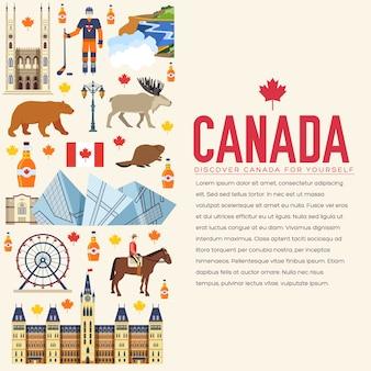 Страна канада туристический отдых путеводитель по товарам. набор архитектуры, моды, людей, предметов, природы.