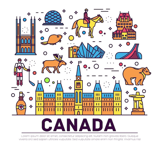 Country canada travel vacation infographic. set of architecture, fashion, people, item, nature.