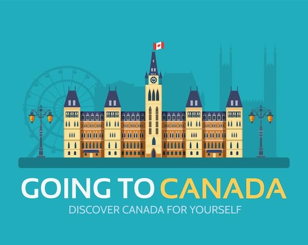 Страна канада, путешествия, отпуск по месту и особенностям. набор архитектуры, предмет, природа фон.