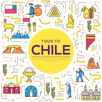 Country chile thin line guide of goods, places and features.