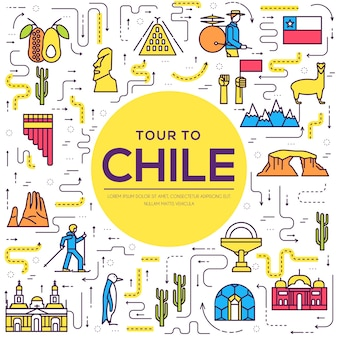 Country chile thin line guide of goods