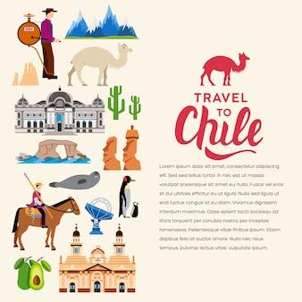 Страна чили отдых путеводитель по местам. набор архитектуры, моды, людей, предметов, природы.