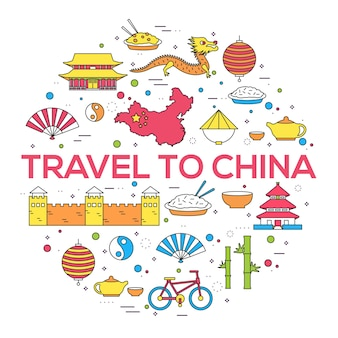 Country china travel vacation guide thin lines style.
