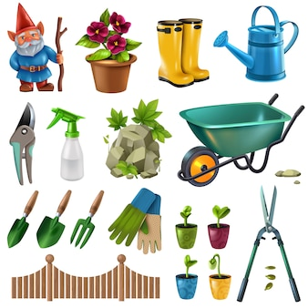 Country cottage garden accessories design elements set with hedge trimming shears flowers plants seedlings wheelbarrow