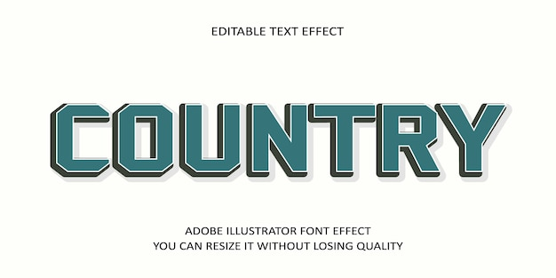 Country editable text effect