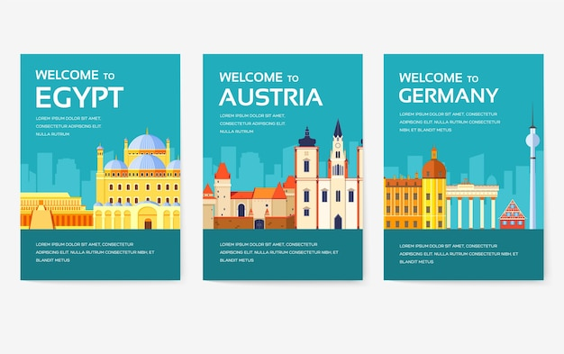Country of egypt, austria, germany, india, russia, thailand, japan, italy card set.