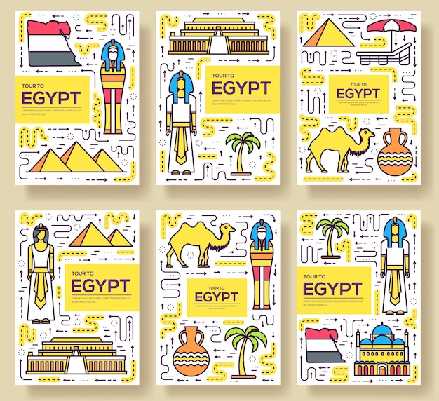 Country egypt travel vacation guidevector brochure card thin line set