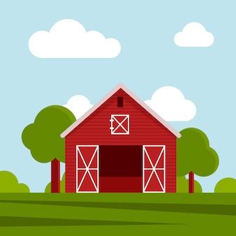 緑の牧草地にある田舎の農家、農業建設。雲と青い空を背景にフラットベクトルイラスト