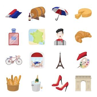 国フランス漫画のアイコンを設定します。イラスト旅行パリ。分離された漫画セットアイコン国フランス。