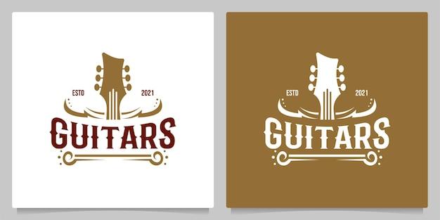컨트리 기타 음악 웨스턴 빈티지 레트로 살롱 바 카우보이 로고 디자인