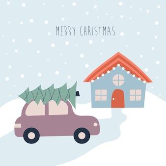 Загородный дом и автомобиль с елкой на крыше. векторная иллюстрация.