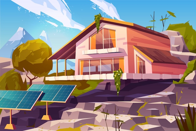 Country house in mountains cartoon