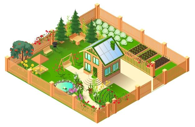 지붕과 넓은 정원에 태양 전지판이있는 컨트리 하우스.