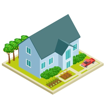 Country house with vegetable and fruit garden isometric Premium Vector