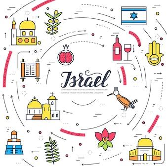 국가 이스라엘 여행 휴가 가이드. 원활한 패턴 전통적인 민족, 개요, 얇은 선.