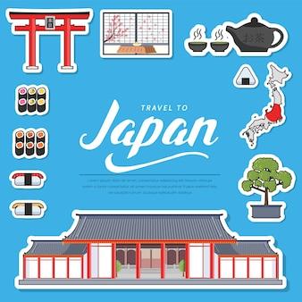 カントリージャパン旅行休暇ガイドグッズ。建築、ファッション、人、アイテム、自然のセット。