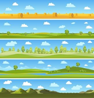 カントリーランドスケープセット。屋外スカイツリー、夏の牧草地、雲と丘。ベクトルイラスト