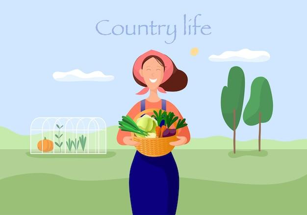 田舎暮らしイラスト。野菜を持つ女性。
