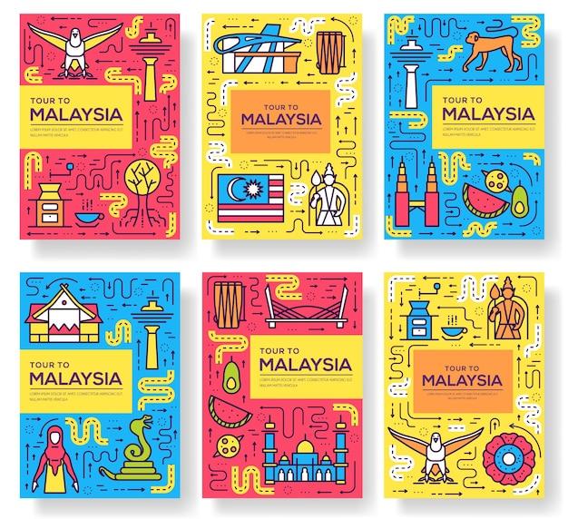 국가 말레이시아 여행 카드 얇은 선