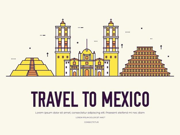 Страна мексика, путешествия, отпуск по месту и особенностям. набор архитектуры, шт.