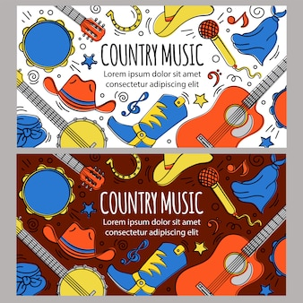 Country music banner template western festival
