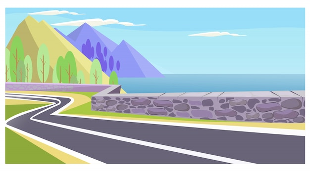 Country road at sea and mountains illustration