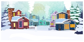 Country scene with cottages and fir-trees illustration