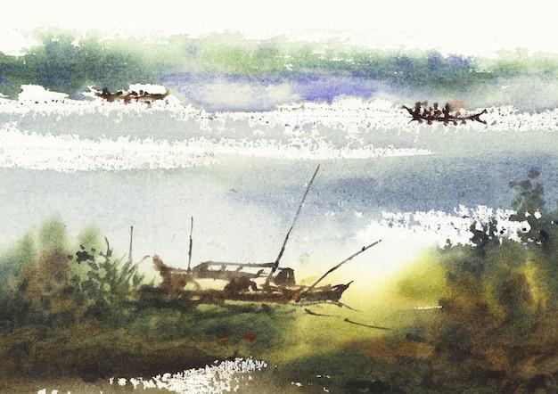 국가 측면 강 풍경 그림 예술과 수채화로 디자인