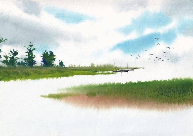 수채화로 그린 시골 풍경화