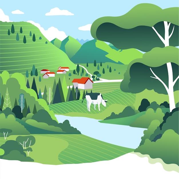 緑の野原、家、牛、青い空のある田園風景。丘に囲まれた美しい村