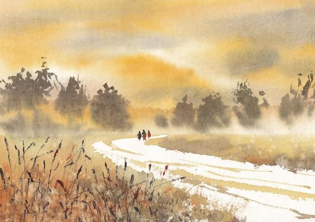 시골 쪽 겨울 자연 수채화