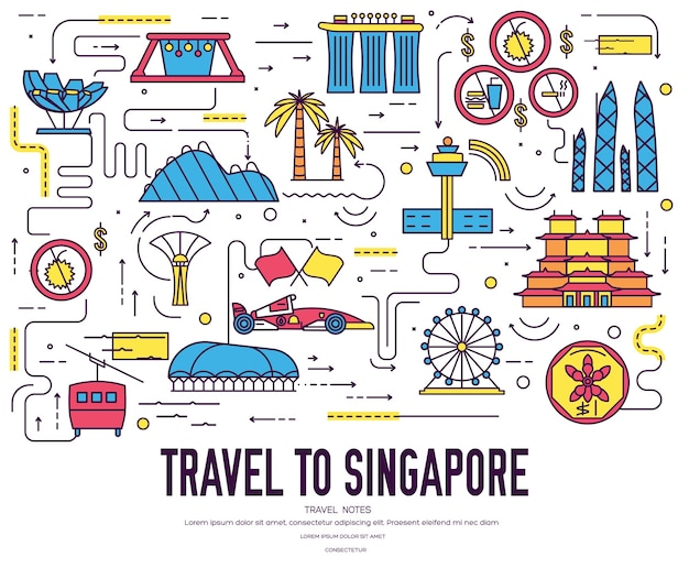 Country singapore travel vacation guide of goods, place. set of architecture, fashion, people,