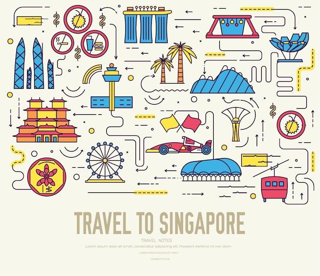 국가 싱가포르 여행 상품의 휴가 가이드 프리미엄 벡터