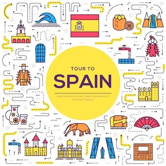Страна испания тонкая линия путеводитель по отпуску