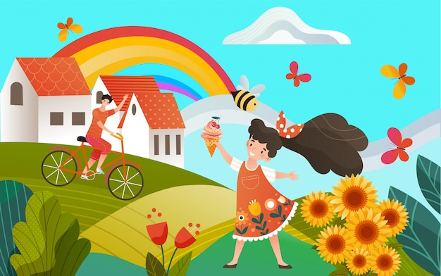Country summer memories, rural landscape, children girl with icecream and boy on bicycle, rainbow  countryside illustration.