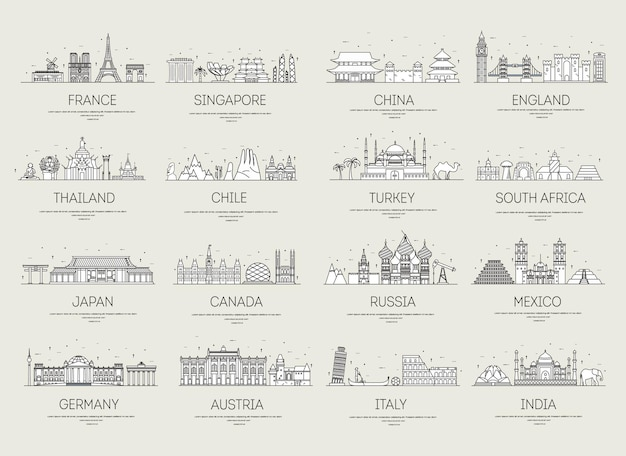 Country thin line icons travel vacation guide places and features