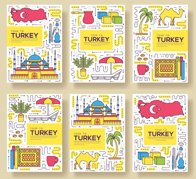 Страна турция карты тонкая линия набор иллюстрации