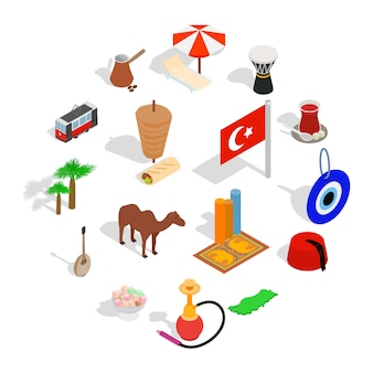 Country turkey icon set, isometric style