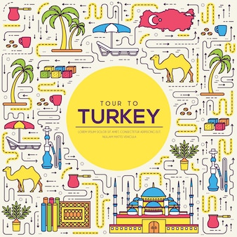 Country turkey travel vacation guide of goods, feature. set of architecture, fashion, people,