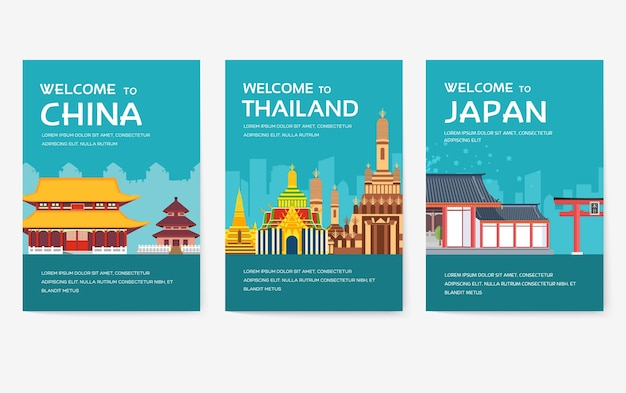 Country of usa, england, china, frnace, russia, thailand, japan, italy cards set.
