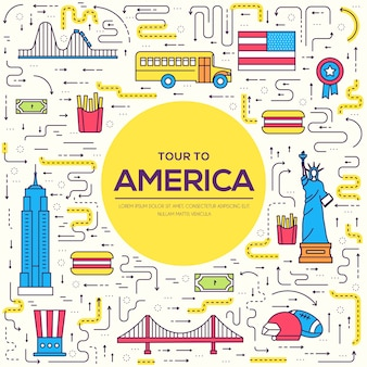Country usa travel vacation guide of goods, places. set of architecture, foods, sport, items.