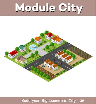 Country village of townhouses and rural houses with roads