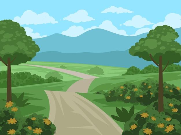 Красивый пейзаж сельской местности с тропинками и лужайками